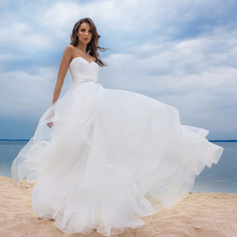 2020 Elegant Sweetheart Sleeveless A-line Wedding Dress With Rhinestones Sweep Train Vestido De Novia Plus Size Bridal Gown