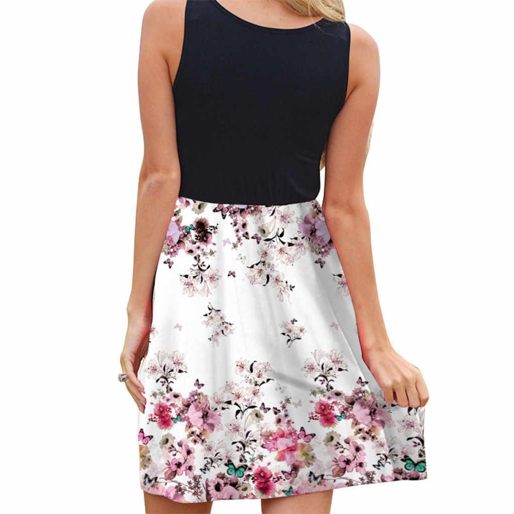 Женское Повседневное платье без рукавов с принтом, повседневное пляжное винтажное летнее Короткое мини-платье в стиле бохо, клетчатое платье, летнее платье для девочек, вечерние платья 2019 для женщин