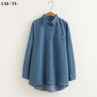 LXMSTH New Spring Ladies Denim Shirts Casual Striped Long Irregular Shirt Plus Size Women Long Sleeve