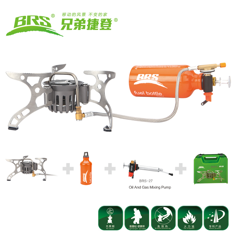 Portable Backpacking Furnace Gasoline Oil/Gas Dual-Use Stove Camping Stove Picnic Butane Gas Stove Outdoor Cooking Stove BRS-8B mini portable butane stove for outdoor travel camping picnic silver black page 2 page 4