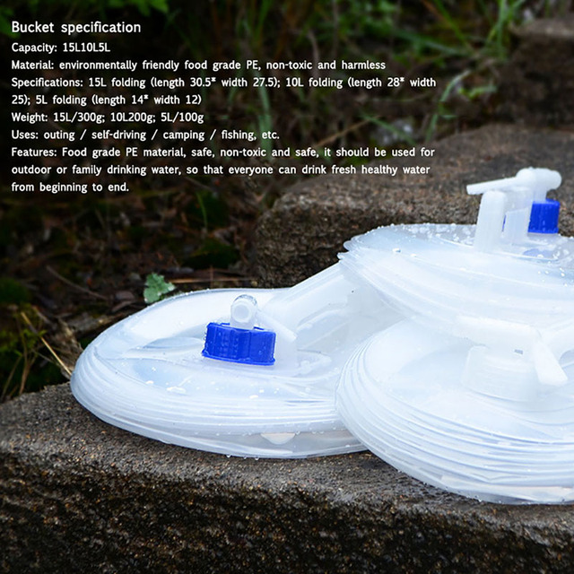 *Outdoor Water Bucket Folding Water Bag Storage 5/10/15L Foldable PE Plastic Food Grade Water Bottle Container Camping Survival* 2