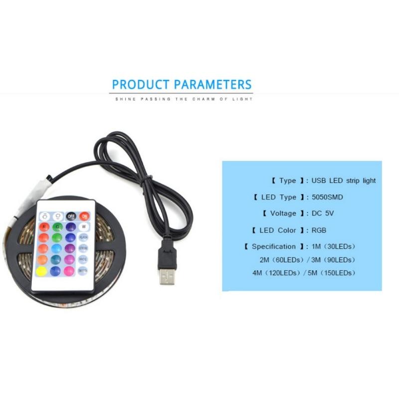 SMD 5050 RGB USB LED Strip light DC 5V TV LCD Background Lighting With 24key IR Controller Tape Waterproof 0.5M 1M 2M