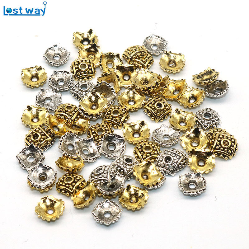 все цены на Wholesale 8mm Hole is 2mm 200pcs Square Bead Cups Silver Gold Color Flower petal Spacer Beads Caps Charms For DIY Jewelry Making онлайн