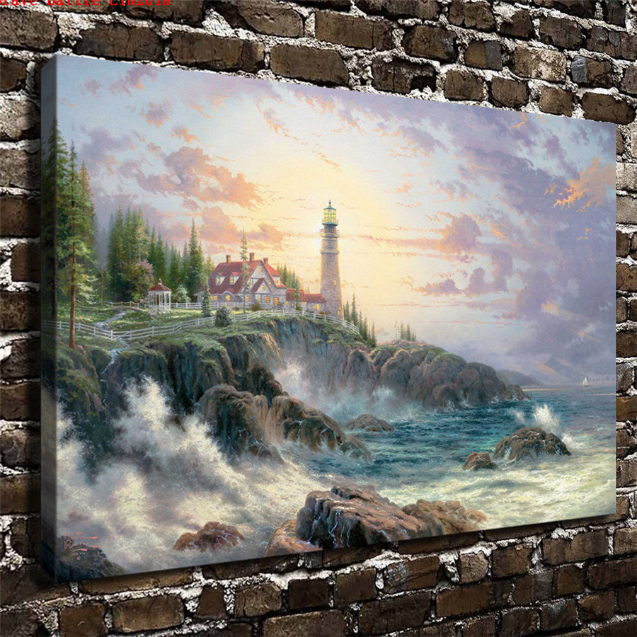 Thomas kinkade clearing storms canvas painting print - Home interiors thomas kinkade prints ...
