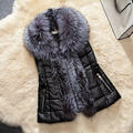 Plus Size 3XL Women Leather Vest Faux Fur Collar Waistcoats Sleeveless 2016 New Winter Warm Jackets Coats Pocket Colete Feminino