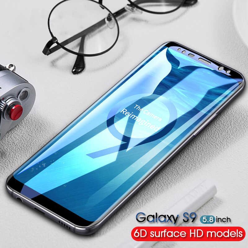 6D منحني حافة الزجاج المقسى لسامسونج غالاكسي S9 S8 زائد ملاحظة 8 واقي للشاشة لسامسونج S7 S6 حافة زائد s8 S9 الزجاج