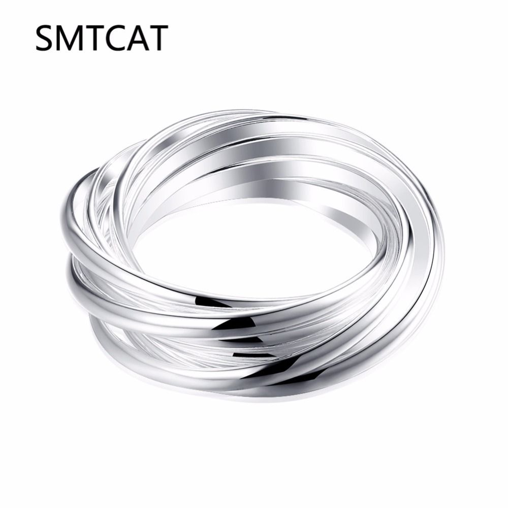 SMTCAT New Fashion Geometric 925 stamped silver plated Ring for Women Circles Surround Cross Design Rings Finger Jewelry