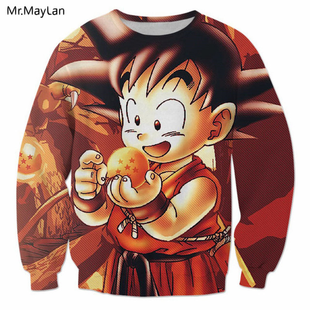 Harajuku Japan Anime Dragon Ball Baby Goku 3D Print Sweatshirts Women Men  Hiphop Crewneck Outfit Boys Kawaii Hoodies Clothes 5XL e8231aa7ab