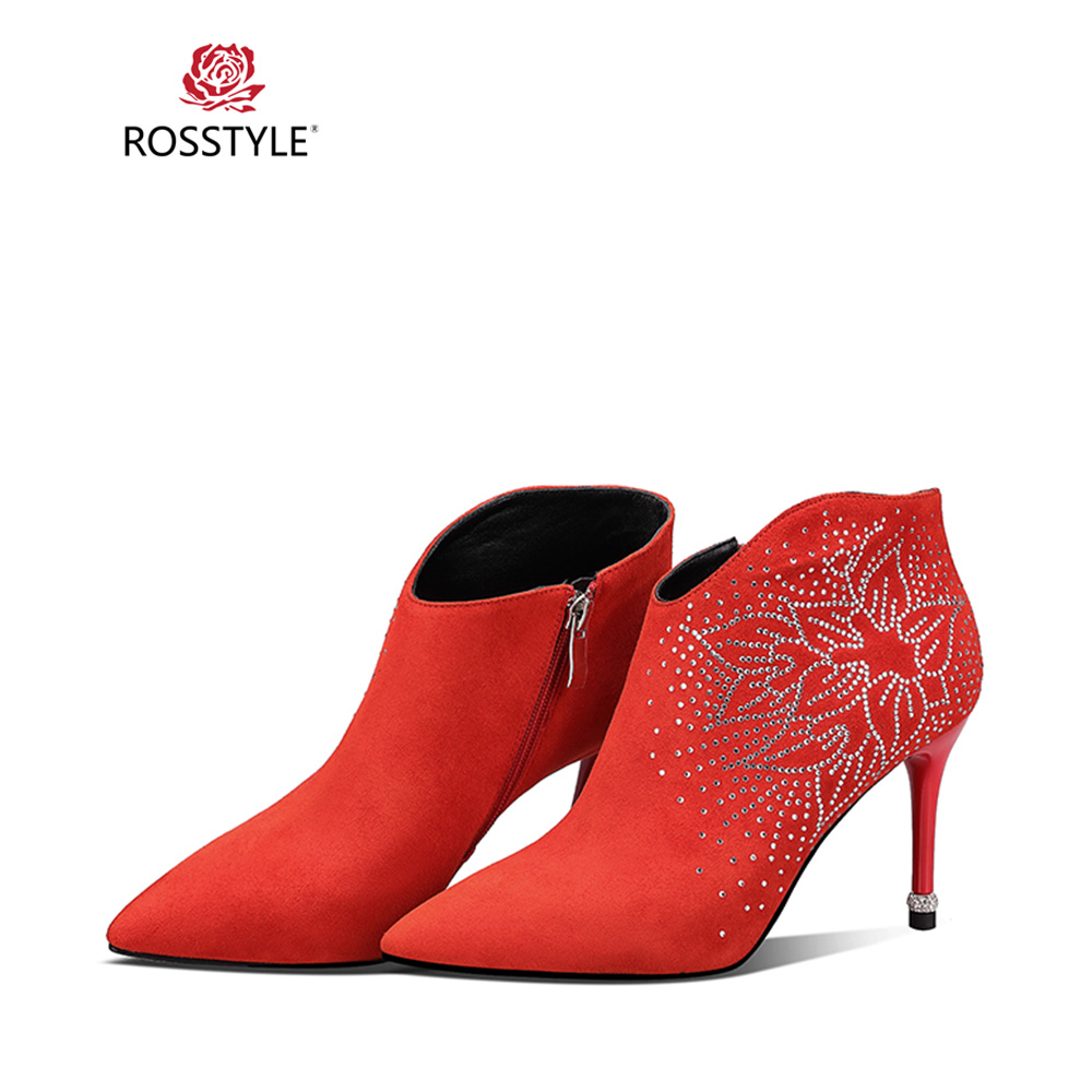 Black Bootsb38 Véritable Luxe Mince Bottes 2018 D'hiver Mode Bout De Cuir Décoration Élégant Rosstyle red Talons Pointu Bottines Florale xHTaqYCw
