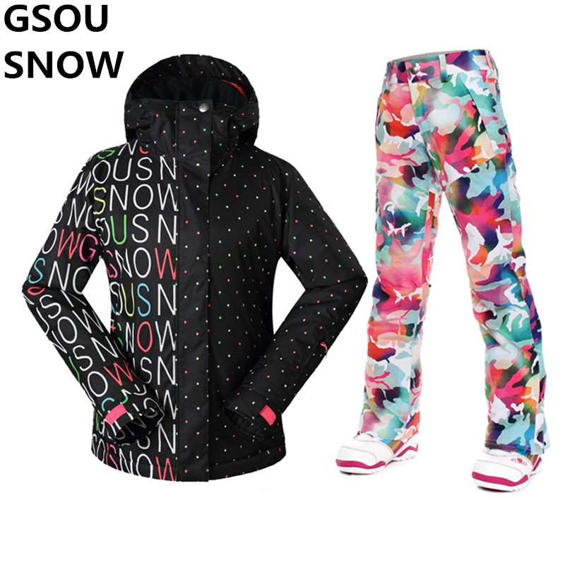 GSOU SNOW Ski Jacket Women + Pants Winter Professional Womens Snowboarding Snow Suits Female Super Waterproof Skiing Suit Sets brand gsou snow technology fabrics women ski suit snowboarding ski jacket women skiing jacket suit jaquetas feminina girls ski