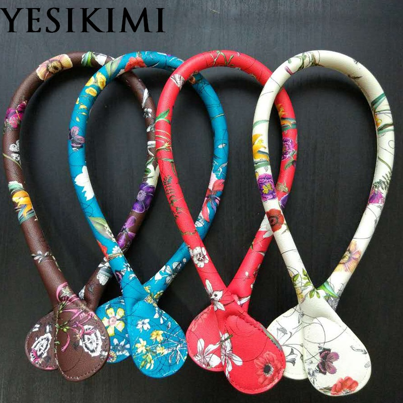 YESIKIMI Handles For O Silicon Bag 1 Pair 65CM PU Leather Flower Handles Portable Belt Bag