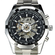 Top Brand GANADOR 2016 Steampunk Reloj Para Hombre Mismo-Viento Automático Correa de Acero Reloj Militar Hombres Esqueleto Mecánico Relojes de Pulsera