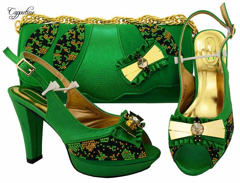 Высокий класс зеленые туфли-лодочки высокая обувь на каблуке и Сумка Наборы серии Свадебные/вечерние туфли с сумочкой MM1048