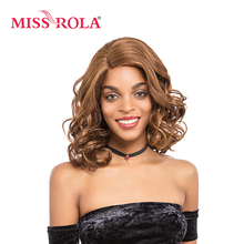 Miss Rola Short Wavy Synthetic Hair Lace Front Wig 14 Inch Side Parting