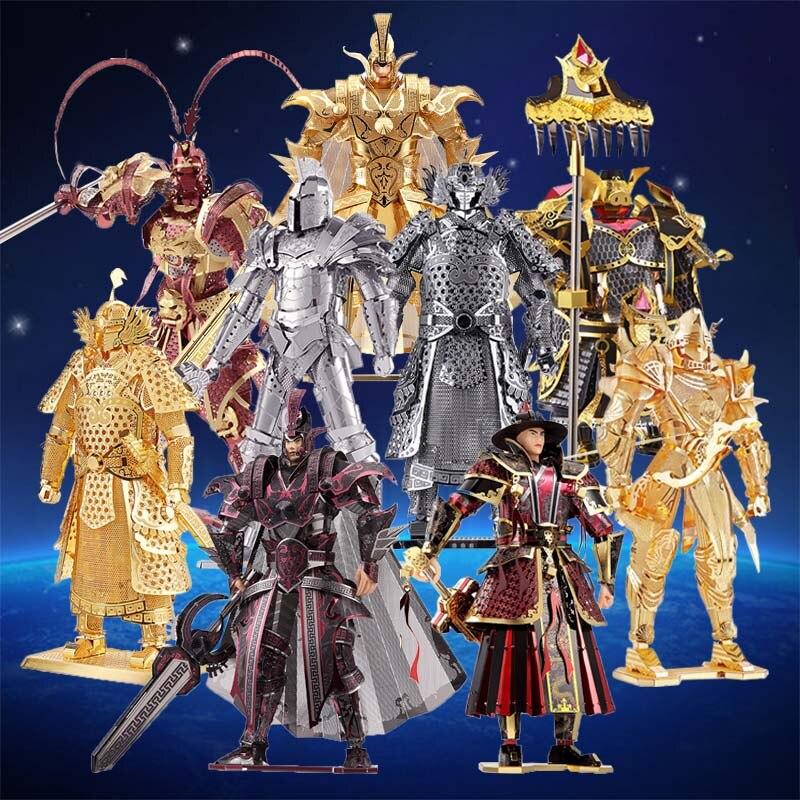 Piececool 3D Metal rompecabezas DIY Caballero Negro General soldado Rey Mono de ópera de Pekín figura de Metal modelo de rompecabezas para adultos