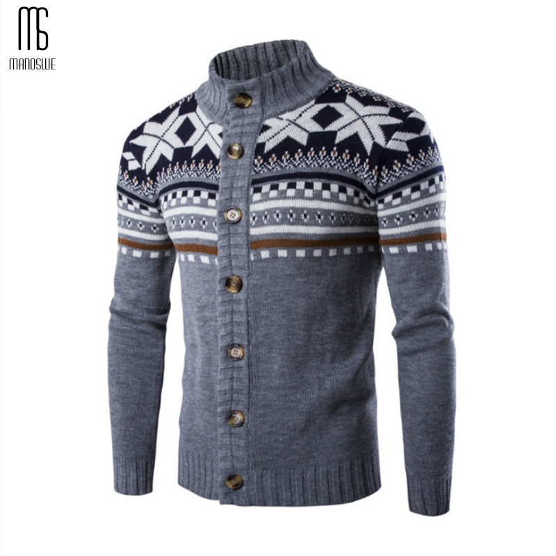 Men Winter Date Outfit Stand Collar Knit Cardigan Sweaters Long Sleeve Wool Slim Tops Jacket For Guys