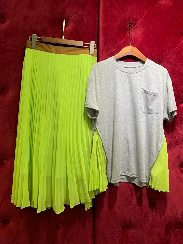 2019 delle donne set di moda e di estate top con lunghe gonne a pieghe grigio e di colore verde chiaro per femme-in Completi da donna da Abbigliamento da donna su  Gruppo 1