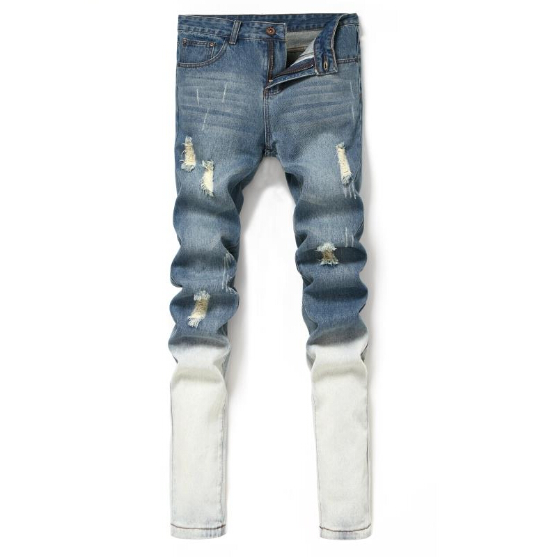 Brand Mens Jeans Straight Ripped Jeans For Men 2017 Zipper Fly Denim Jeans Men Fashion Designer Pants Blue Jean Male Size 27-36 famous brand mens jeans straight ripped biker jeans for men zipper denim overalls men fashion designer pants blue jeans homme