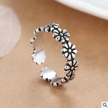 Ново долазак 925 сребра тренди цвјетни даме прстен накит за жене промоција поклон опен парти прстенови падају поштарину