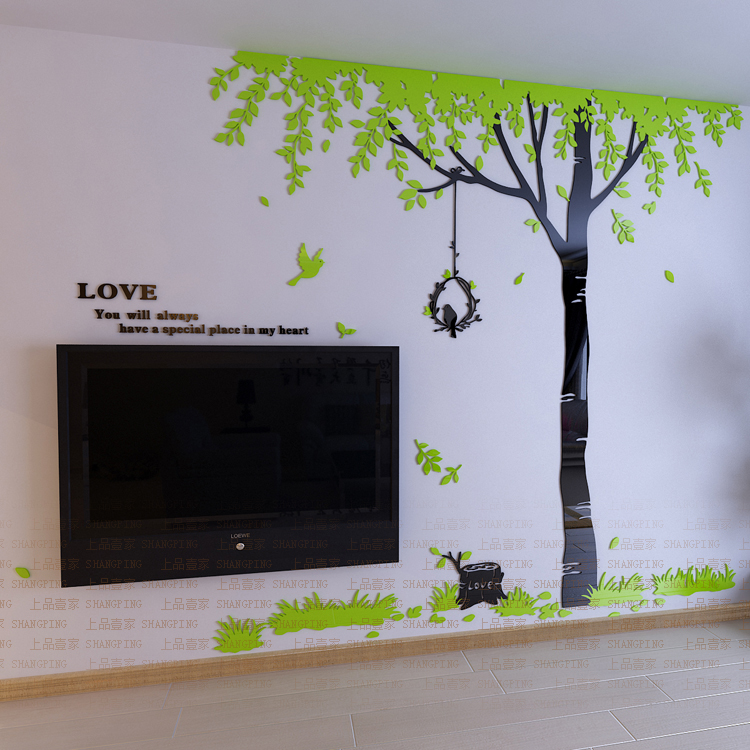 New arrival Love tree crystal acrylic three dimensional wall stickers Bedroom wall Sofa background wall Creative 3d wall sticker