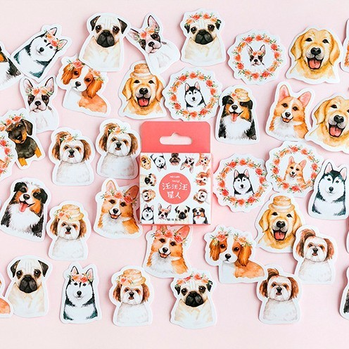 46PCS/box A Collection Of Puppies Diary Paper Lable Stickers Crafts And Scrapbooking Decorative Lifelog Sticker DIY Stationery