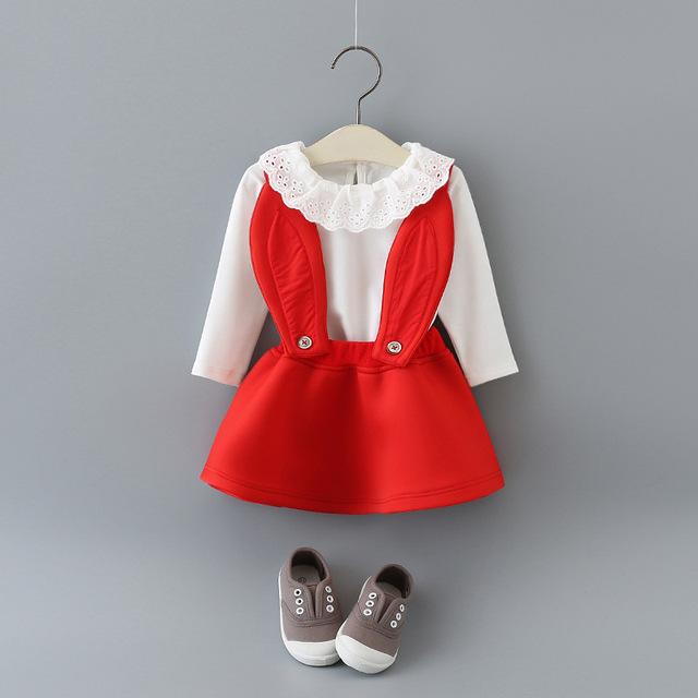 Bebé ropa de las muchachas peto para bebés tshirt + tirantes dress ropa infantil del niño de la historieta