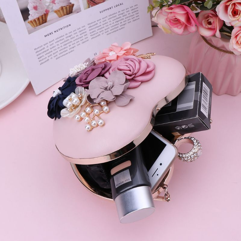 2019 New Fashion Women Floral Rhinestone Leather Clutch Shoulder Bags Heart Shaped Purse Evening Party Bridal Handbag in Shoulder Bags from Luggage Bags