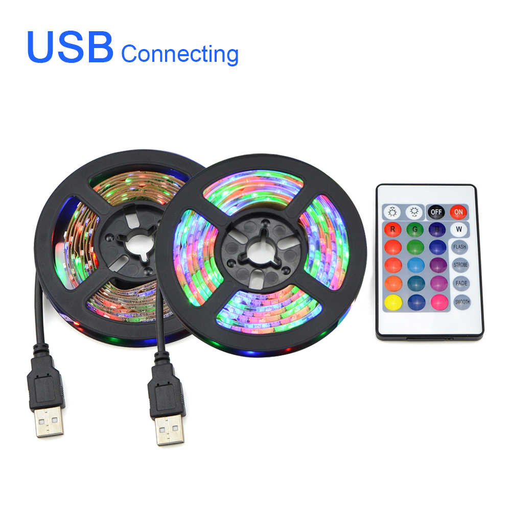 DC 5V USB 2835 LED RGB Strip Light TV Background Decor Lighting Strings Mini 3key/24key/RF 17key Controller/White/Warm White