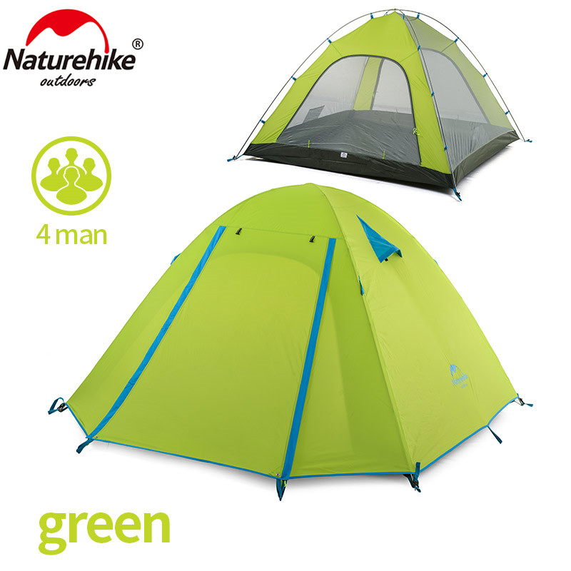 NatureHike 4 Person Tent 3 season 215 215 130 cm Double Layer Outdoor Camping Hike Travel