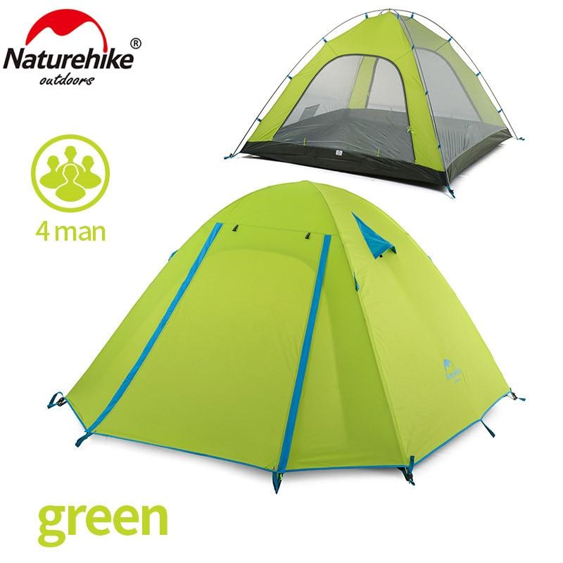 Nature randonnée 4 personne tente 3 saison 215*215*130 cm Double couche Camping extérieur randonnée voyage jouer tente aluminium pôle NH15Z003-P