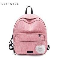 LEFTSIDE 2 Size Cute Corduroy Mini Backpack Female With Hairball Women Small Back Pack Travel Bagpack
