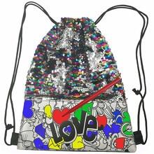 Cor seu próprio estilo-glitter drawstring bag 5 marcadores brilhantes incluídos, multicolorido crianças sequin drawstring mochila sereia se
