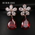 HIBRIDE Ювелирные Изделия Красный ААА Корень Циркон Мотаться Серьги, Позолоченные Женщины Свадьба Серьги E-54