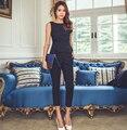 Мода Женская Формальное Офис Бизнес Рабочая Одежда OL Брючный Костюм синий Черный Slim Fit Сексуальная Элегантный Брючный костюм Осень для женщины