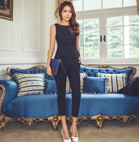 Fashion Womens Formal Office Business Work Wear OL Trouser Suit Blue Black Slim Fit Sexy Elegant Pant Suits Autumn for Women