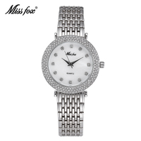 Miss Fox Luxe Rvs Vrouwen Horloges Fashion Casual Horloge Jurk Dame Horloge Horloge Zilver Quartz Klok