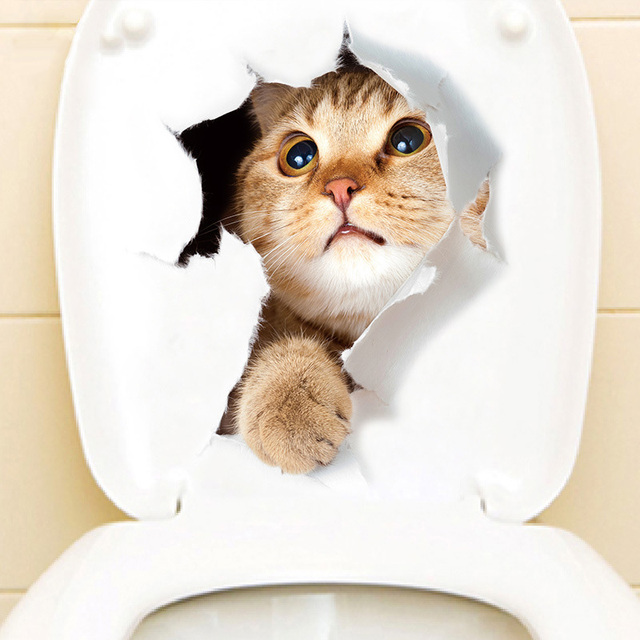 Cute hole cat creative home decoration 3D animal wall stickers for refrigerator door bathroom toilet stickers on the toilet seat