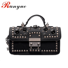 RANYUE Chain Handbags PU Leather Women Shoulder Bags 2017 New Fashion Rivet Tote Luxury High Quality Handle Bags For Girls Bolso