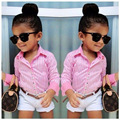 2016 Summer Style Girls Clothing Sets Brand Long Sleeve Striped Shirts+White Shorts Pants 2pcs Baby Girl Clothes Set Kids Suits