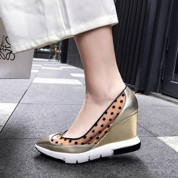 Chaussures Compensées En Or | Chaussures En Cuir Véritable Femme Bout Pointu Talon Compensé Talons Hauts Plate-forme Pompes Or Argent Dame Chaussures Chaussure Femme