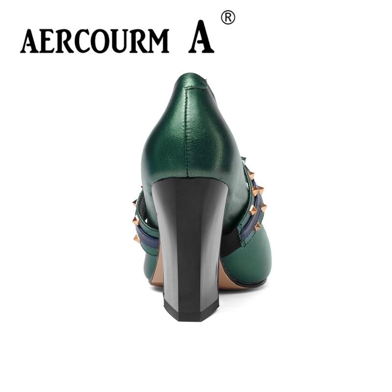 2018 Remache Bombas Superficie Mujeres A Aercourm Zapatos Cuadrado Marca Balck Señoras Green Nueva Auténtico Z304 304 De Seda Tacón Verde Primavera 304 Cuero 5tWAqWOf