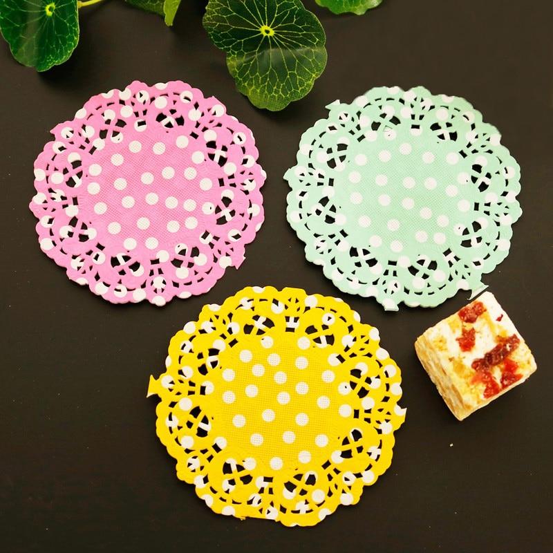 Dots Paper Lace Doilies Round Placemats