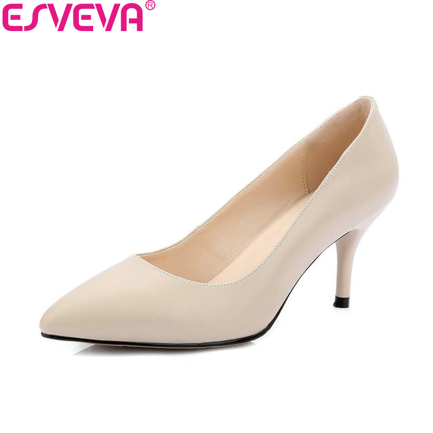 ESVEVA 2018 Women Pumps Sexy All Match Thin High Heel Beige PU+Cow Leather Concise Slip on Party Ladies Shoes Slip on Size 34-42