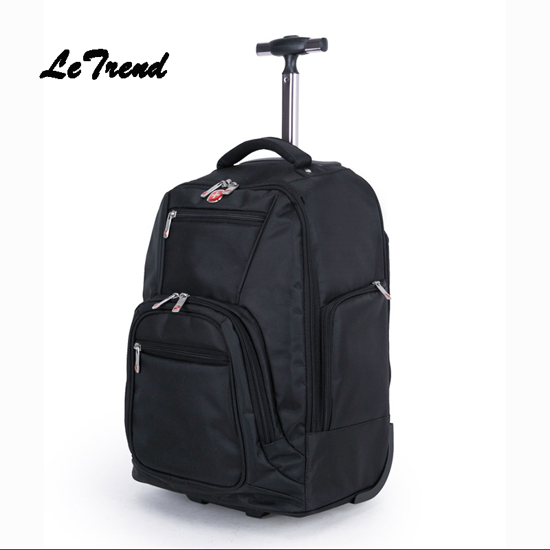 Letrend Fashion Large Capacity Business Oxford Rolling Luggage Travel Bag Backpack Women Trolley Carry On Suitcase Wheels Trunk 2016 new large capacity travel suitcase on wheels trolley bag rolling bag high quality polyester travel bags