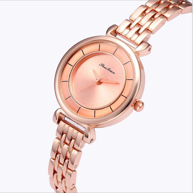 2018 Lüks Kristal Gül Altın Saatler Kadınlar Moda Bilezik Kuvars - Kadın Saatler - Fotoğraf 5