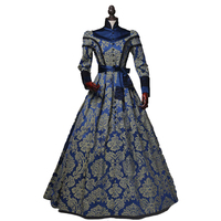 Free Shipping Print Navy Flower Print Ball Gown Sashes Dress Victorian Clothes Renaissance Queen Dress Customment