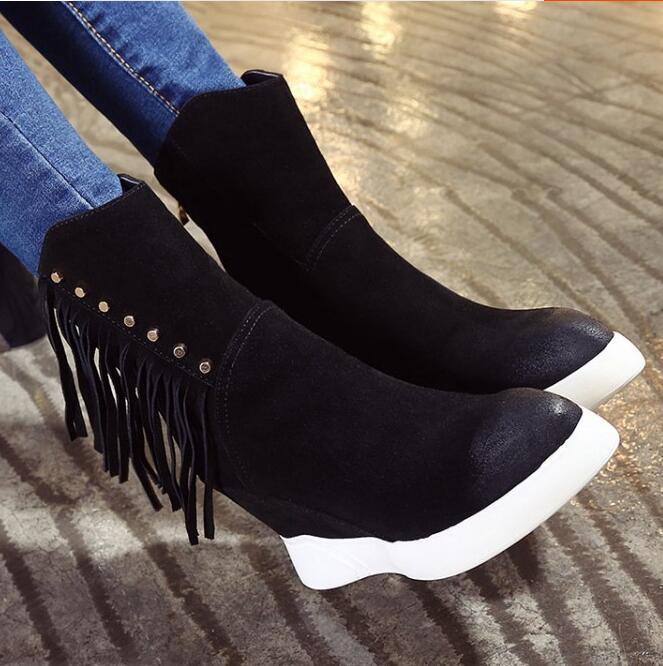 Women Winter Full Grain Leather Rivets Tassel Height Increase Elevator Chunky Heel Fashion Warm Ankle Boots Size 34-39 SXQ1012