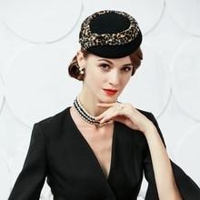 Nuovo di Modo di Inverno Delle Donne Cappello di Lana Elegante Vintage  Wedding Cappellino a tamburello fca57c72603b