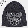 2016 Новый Горный Хрусталь Негабаритных Шапочка Шляпы Для Женщин Девушки Leopard Хлопок Полиэстер Шапочка Шляпы Для Женщин Зимние Вязать Шапочки Hat