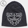 2016 New Rhinestone Oversized Beanie Hats For Women Girls Leopard Cotton Polyester Beanie Hats For Women Winter Knit Beanies Hat